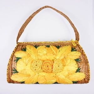 Handbags - Handmade Vintage Straw Handbag with Giant Flowers